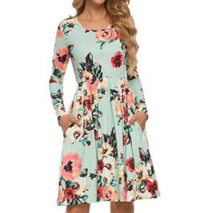 Women Floral Fall Long Sleeve Pockets Casual Dress